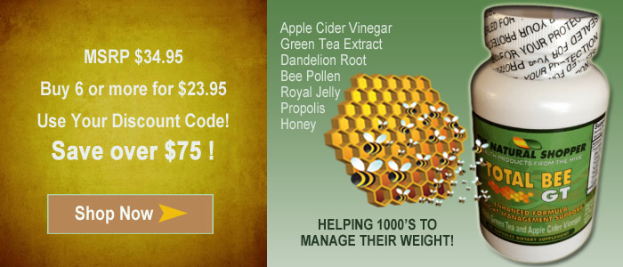 Total Bee GT weight loss with bee pollen, green tea and apple cider vinegar