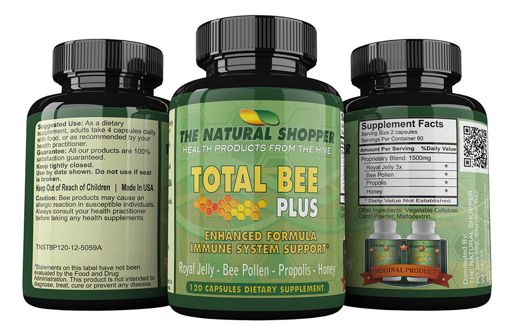 Total Bee Plus - Royal Jelly, Bee Pollen, Propolis and Honey in one capsule